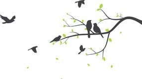 Vogel met de achtergrond van het boomsilhouet stock illustratie