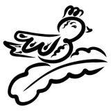 Vogel met een bosje op zijn hoofdzitting op een tak, zwart patroon royalty-vrije illustratie