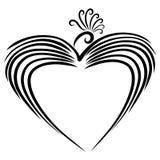 Vogel met een bosje van krullen, creatief hart royalty-vrije illustratie