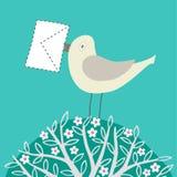 Vogel met een brief Royalty-vrije Stock Afbeeldingen