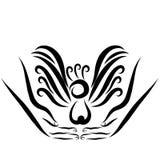 Vogel met een in hand bosje, zwart overzicht royalty-vrije illustratie