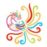 Vogel met een prachtige staart, een bosje en een patroon op de borst, royalty-vrije illustratie