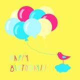 Vogel mit Ballonen Lizenzfreies Stockbild