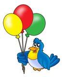 Vogel mit Ballonen Stockfoto