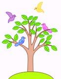 Vogel mit Baum Lizenzfreie Stockbilder