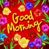 Vogel mit Blume gruß Guten Morgen Vektor Stockfotografie
