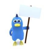 Vogel mit Fahne Stockbild