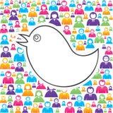 Vogel mit in Gruppe von Personen Lizenzfreie Stockbilder