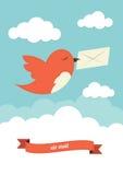 Vogel mit Umschlag Lizenzfreies Stockfoto