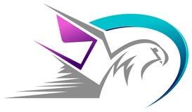 Vogel mit Umschlaggeschwindigkeitspost-Zusammenfassungsdesign stockfotografie