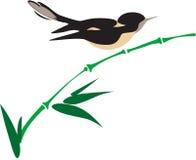 Vogel op bamboe stock illustratie