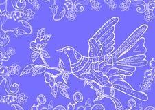Vogel op bloementuin Stock Afbeeldingen