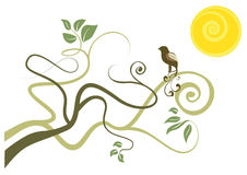 Vogel op boom Royalty-vrije Stock Afbeeldingen