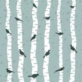 Vogel op een berk royalty-vrije illustratie