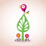 Vogel op een boom vector illustratie
