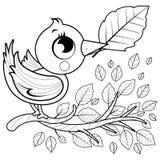 Vogel op een tak met bladeren royalty-vrije illustratie