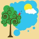 Vogel op een zon van de boomgroet Royalty-vrije Stock Afbeeldingen