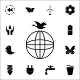 vogel over het bolpictogram Voor Web wordt geplaatst dat en het mobiele algemene begrip van ecologiepictogrammen royalty-vrije illustratie