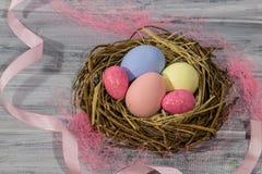 Vogel ` s Nest mit Ostereiern Stockfotos