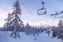 Vogel ski center in mountains Julian Alps Stock Images