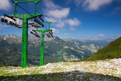 Vogel ski center in the mountains in summer day. Slovenia, Europ Royalty Free Stock Photography