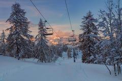 Vogel skidar mitten i bergen mycket snö och imponerande föreställning Royaltyfria Foton