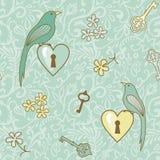Vogel-sleutel-Patern royalty-vrije illustratie