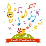 Vogel tjirpende en zingende beeldverhaalmuzieknoten Stock Foto