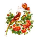 Vogel und Basisrecheneinheit auf den dekorativen Blumen Lizenzfreies Stockbild