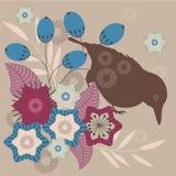 Vogel und Blumen Stockbild