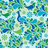 Vogel-und Blumen-Muster in den kühlen Farben Lizenzfreie Stockfotografie