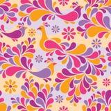 Vogel-und Blumen-Muster in den warmen Farben Stockfotografie