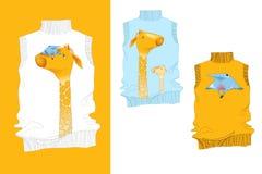 Vogel-und Giraffe-Hemd Stockfotografie