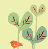 Vogel und große Blätter Stockbild