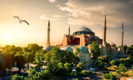Vogel und Hagia Sophia lizenzfreie stockbilder