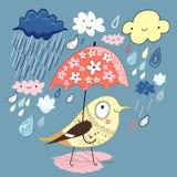 Vogel unter dem Regenschirm lizenzfreie abbildung