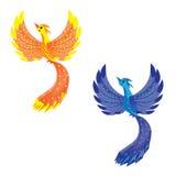 Vogel van brand en vogel van een donder Stock Afbeeldingen