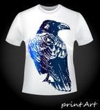 Vogel van een raaf op een T-shirt Royalty-vrije Stock Afbeelding