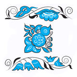 Vogel van Geluk en takjes met bloemen Stock Afbeelding