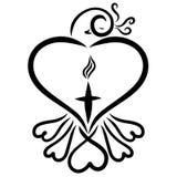 Vogel van harten met een bosje en een kruis met een vlam vector illustratie