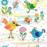 Vogel, weinig, de zomer, de lente, vector, patroon Royalty-vrije Stock Afbeeldingen
