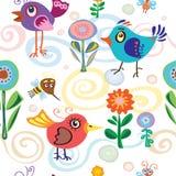 Vogel, weinig, de zomer, de lente, vector, patroon Royalty-vrije Stock Fotografie