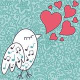Vogel-zingen-a-liefde-lied vector illustratie