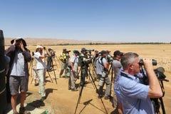 Vogelaars bij Yotvata Eilat Izrael; Birdwatchers przy Yotvata Eila obrazy stock