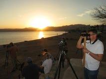 Vogelaars północy op plaża Eilat Izrael; Birdwatchers przy Północnym Bea zdjęcia stock