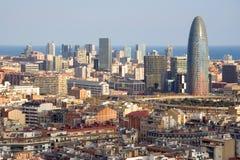 Vogelansicht des Agbar Kontrollturms in Barcelona Lizenzfreies Stockfoto