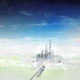 Vogelansicht fokussierte zur modernen Stadt von Zukunft im Nebel vektor abbildung