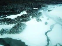 Vogelansicht von Schnee Kanas See im Winter Lizenzfreie Stockfotografie