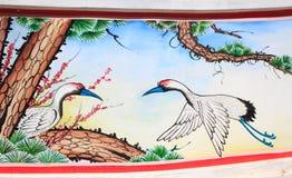 Vogelanstrich auf einer Wand Stockfotos
