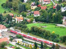 Vogelaugenansicht eines deutschen Dorfs Stockfoto
